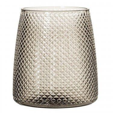 Jarrón de cristal ahumado con estilo vintage.