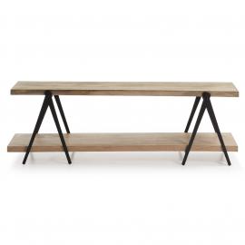 Mueble TV en hierro y madera de mango. 160x45x51 cm.