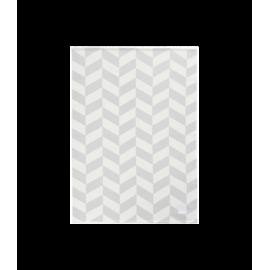Alfombra de espiga gris y blanca.