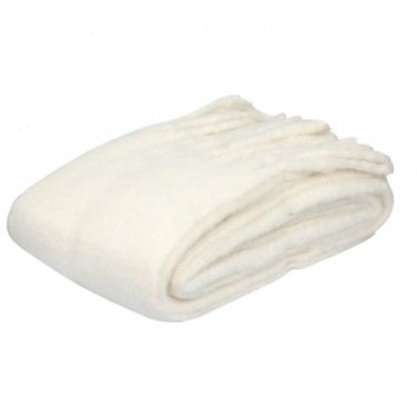 Manata de lana blanco roto.