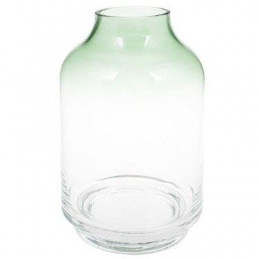 Jarrón de cristal ahumado con toques en verde.