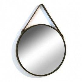 Espejo redondo con el marco de hierro negro