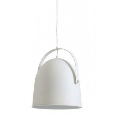 Lámpara de techo blanca con pantalla circular.