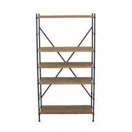 Estantería de hierro y madera. 90x39x174 cm.