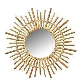 Espejo de pared redondo tipo sol de bambú.