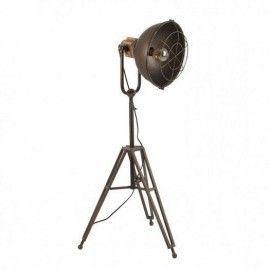 Lámpara de pie trípode industrial.