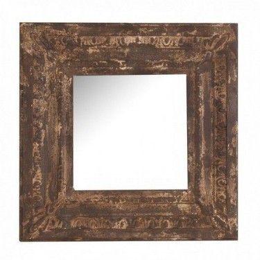 Espejo rústico cuadrado de hierro envejecido.