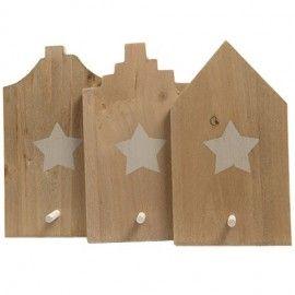 Colgador casa de pared de madera.