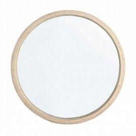Espejo redondo con marco de madera natural (paulonia).