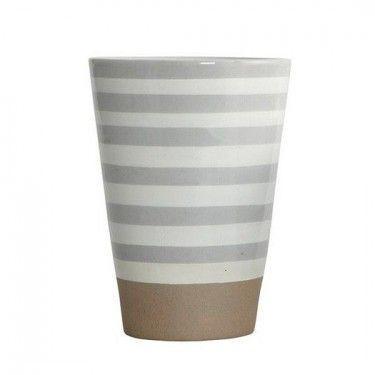 Set Taza Mug cerámica colección rayas Gris. 2 unid