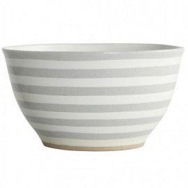 Set Cuenco Bowl cerámica colección rayas Gris. 2 unid